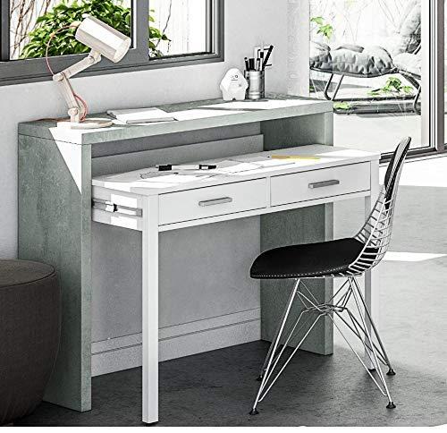 HABITMOBEL Mesa Auxiliar Consola Extensible, Color Gris Motee y Blanco