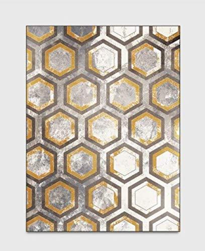 Geel grijs tapijt Modern eenvoudig Geometrisch roosterpatroon Ontwerp Woonkamer Vloerkleden Antislip Indoor Kortpolig tapijt voor woonkamer keuken slaapkamer,80 * 120cm