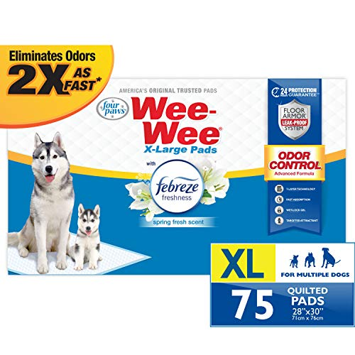 Four Paws Wee-Wee Odor Control Extra Large Pee Pads for Dogs with Febreze Freshness 75 Count X-Large 28