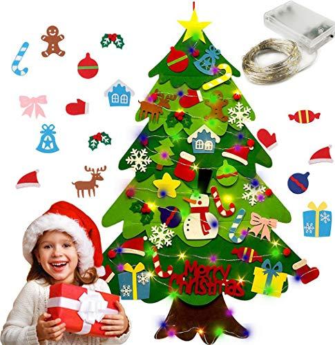 Daypicker DIY Albero di Natale in Feltro,30 Pezzi Ornamenti Rimovibili DIY Fai-da-Te con Felt Christmas Tree Set per Bambini Natale Regali Home Porta Parete Decorazione