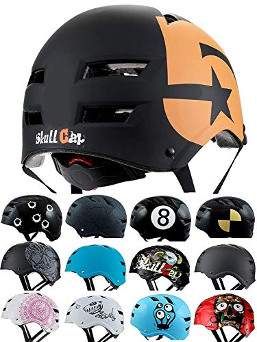 Skullcap® BMX Helm - Skaterhelm - Fahrradhelm - Herren Damen Jungs & Kinderhelm, schwarz-orange, Gr. M (55 – 58 cm), No. 5
