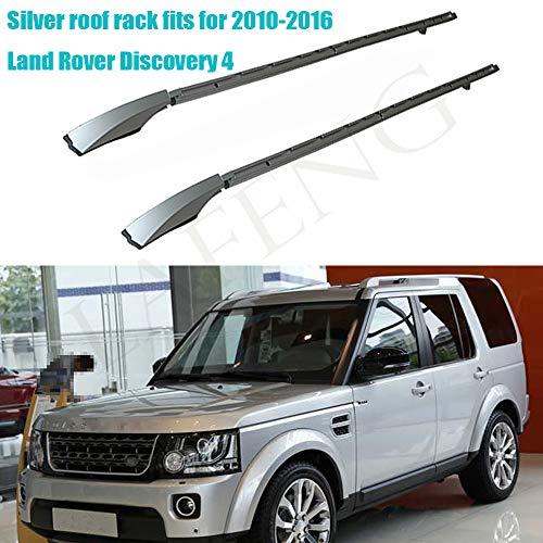LAFENG Baca plateada para techo 2010-2016 Land Rover Discovery 4 LR4 2 piezas de aleación de aluminio portaequipajes portaequipajes portaequipajes rieles de techo