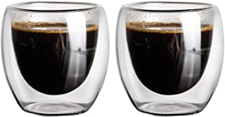 Espresso Cups Insulated Espresso Glass Cups Set of 2 (3 oz) for Espresso Machine and Coffee Maker (Demitasse Cups)