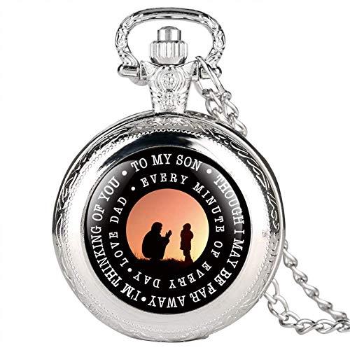 J-Love Reloj Bolsillo Retro, To My Son Theme Reloj Bolsillo Cuarzo Reloj Colgante Vintage Los Mejores Regalos cumpleaños para niños con Cadena Collar 80 cm