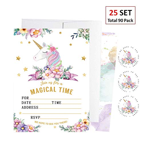 EXIJA 25 Pack Glitter Unicorn Invitations with 25 Envelopes and 40 Unicorn Stickers, Unicorn Party Supplies, Unicorn Party Invitations for Girls Boys Kids Birthday