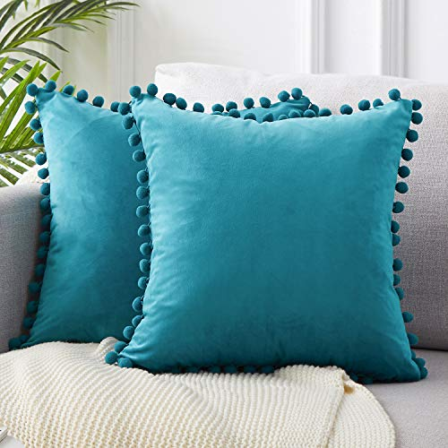 Top Finel Decorative Throw Pillow Covers for Couch Bed Soft Particles Velvet Solid Cushion Covers with Pom-poms 20 x 20 Inch 50 x 50 cm, Pack of 2, Teal Blue