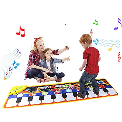 Toys for 1-6 Year Old Girls Boys Toddlers Infant Kids, Gifts for 6-24 Month Old Boys Girls Piano Music Dance Mat With 19 Keys Piano Mat, 8 Musical Instruments Build-in Speaker & Recording Function