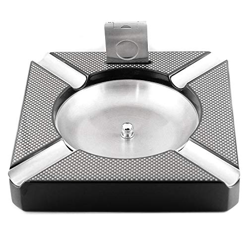 Mrs. Brog Cigar Ashtray with Built-in Cigar Cutter - Holds 4 Cigars - Removable Stainless Steel Bowl - Easy to Clean - Large Ashtray - Perfect Cigar Gift