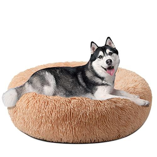 DanceWhale Redonda Cama Perro Gato Cama Cama de Felpa para Mascota Lavable Sofa Suave Cachorro Calentito Cojín(80cm, Begie)