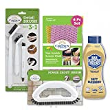BAR KEEPERS FRIEND Soft Cleanser with 3-in-1 Detail Grout Cleaning Brush Set Grout Brush and Non Scratch Scouring Cloth