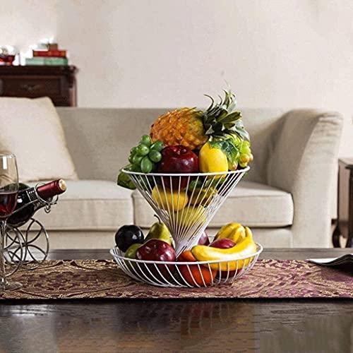 Plato de fruta de dos capas, plato de frutas secas para el hogar, sala de estar, creativo, plato de fruta, plato de fruta moderno (color: blanco)