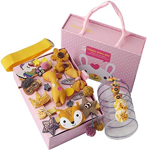 Comius Sharp 24 lazos de pinzas para el cabello para bebés con una exquisita caja de regalo, accesorios para el cabello, pinzas para el cabello con cola de caballo, set para niños pequeños (amarillo)