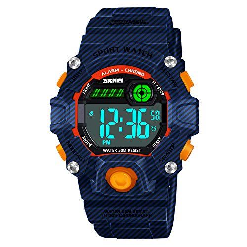 Dreamingbox Uhren für Jungen Mädchen, Wasserdicht Digital Armbanduhr für Kinder Spielzeug für Jungen Mädchen ab 5-12 Jahre Geschenke für Mädchen Jungen 5-12 Jahre Tarnung Blau