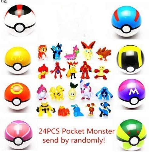 SBGYRO TOYS 8 Collectible Pokeball + 24PCS Mini Poke Action Figures mon pet Pocket Monster Action Figure Toy for Kids Ages 2 and Up