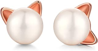 cat pearl stud earrings - Cute Cat Stud Earrings with Natural Pearl - Freshwater Cultured Pearl Cat Stud Earrings,Sterling Silver Pearl Stud Earrings With Cat Design - Lovely Cat Stud Earrings for Women,Girls