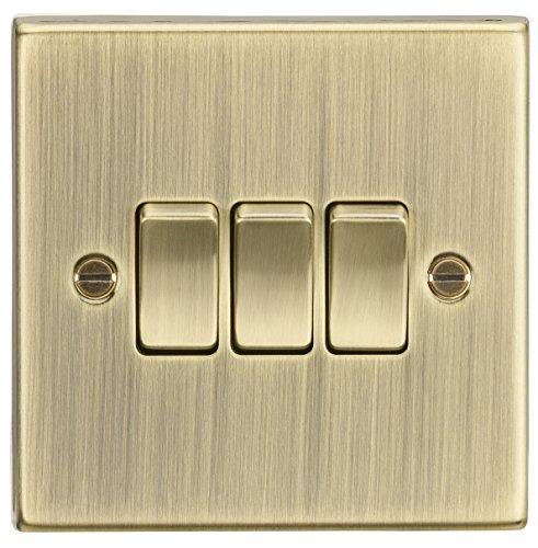 10AX 3G - Interruptor de placa de 2 vías, borde cuadrado, latón envejecido CS4AB