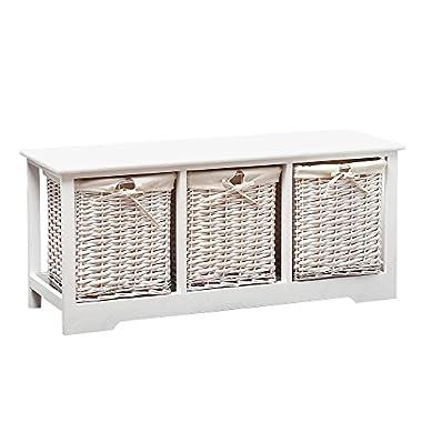 SUNCOO White Wood Vintage Chic Table Nightstand End Side, Bedside, Bedroom, Bathroom 3 Wicker Baskets