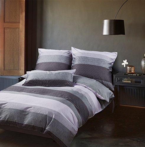 Sternenzelt Bettwäsche Set, Mako-Satin 100% Baumwolle + Kissenbezug 80 x 80 cm (Delia, 2er Pack 135 x 200 cm)