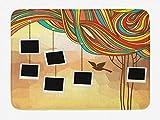 Alfombra de baño de collage, fotos abstractas de árboles genealógicos colgadas en una imagen de fondo de pájaro volador arcoíris mixto, alfombra de decoración de baño de felpa con respaldo antidesliza