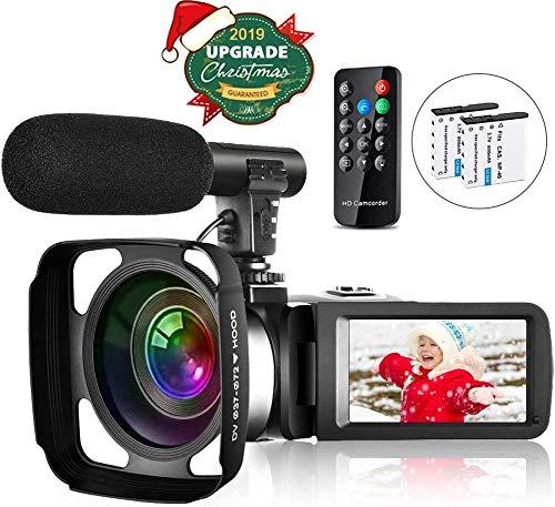 Videocamera Full HD 2.7K 30FPS 30 MP IR Visione notturna Videocamera Touch Screen da 3 pollici con microfono Paraluce per telecomando e 2 batterie