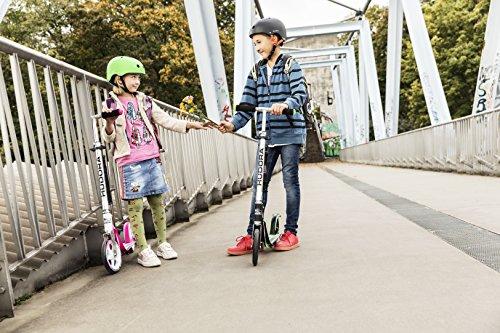 HUDORA 14738 BigWheel 205-Das Original mit RX Pro Technologie-Tret-Roller klappbar-City-Scooter, weiß/pink