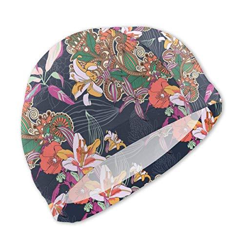HFHY Beau Bonnet de Bain de Fond Exotique Floral Tropical pour Les Enfants, Bonnet de Bain personnalisé en Polyester