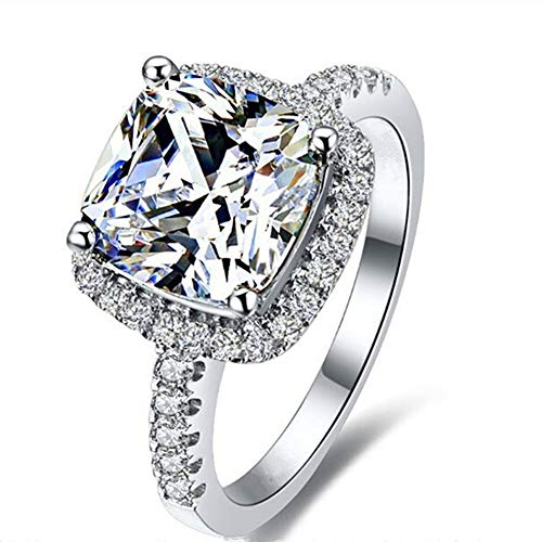 AINUOSHI Exquisite 3ct Cushion Cut Cubic Zirconia Simulated Diamond Wedding Engagement Halo Ring 925 Sterling Silver