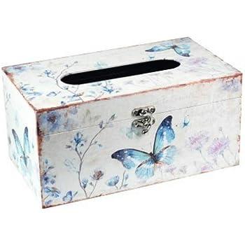 CAPRILO Caja Decorativa de Madera para Pañuelos Mariposas. Cajas ...