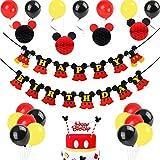 Decorazioni di compleanno di Topolino, palline a nido d'ape in carta rossa Mickey nero, striscioni di buon compleanno, cake topper per Topolino party a tema