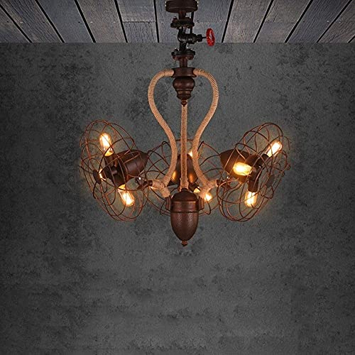 HLY Lampes de salon, lustre en corde de chanvre européen rétro créatif grand lustre ventilateur lampe suspendue 9 têtes salon décoratif plafonnier lustre en forme d'éventail tuyau d'eau individuel lu