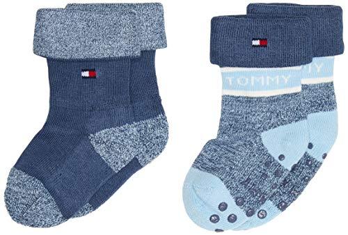 Tommy Hilfiger Th Baby Sock 2p Fold Over calze, combo blu, 19-22 (Pacco da 2) Unisex-Bimbi
