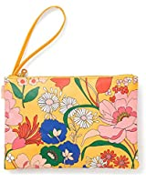 """ban.do Yellow Floral Get It Together Leatherette Wristlet Pouch, 10"""" x 7"""", Superbloom"""