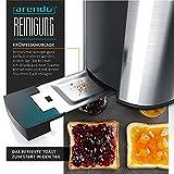 Arendo – Automatik Toaster Langschlitz   mit Defrost Funktion   Wärmeisolierendes Doppelwandgehäuse   Automatische Brotzentrierung   Brötchenaufsatz   herausziehbare Krümelschublade  GS-zertifiziert - 4