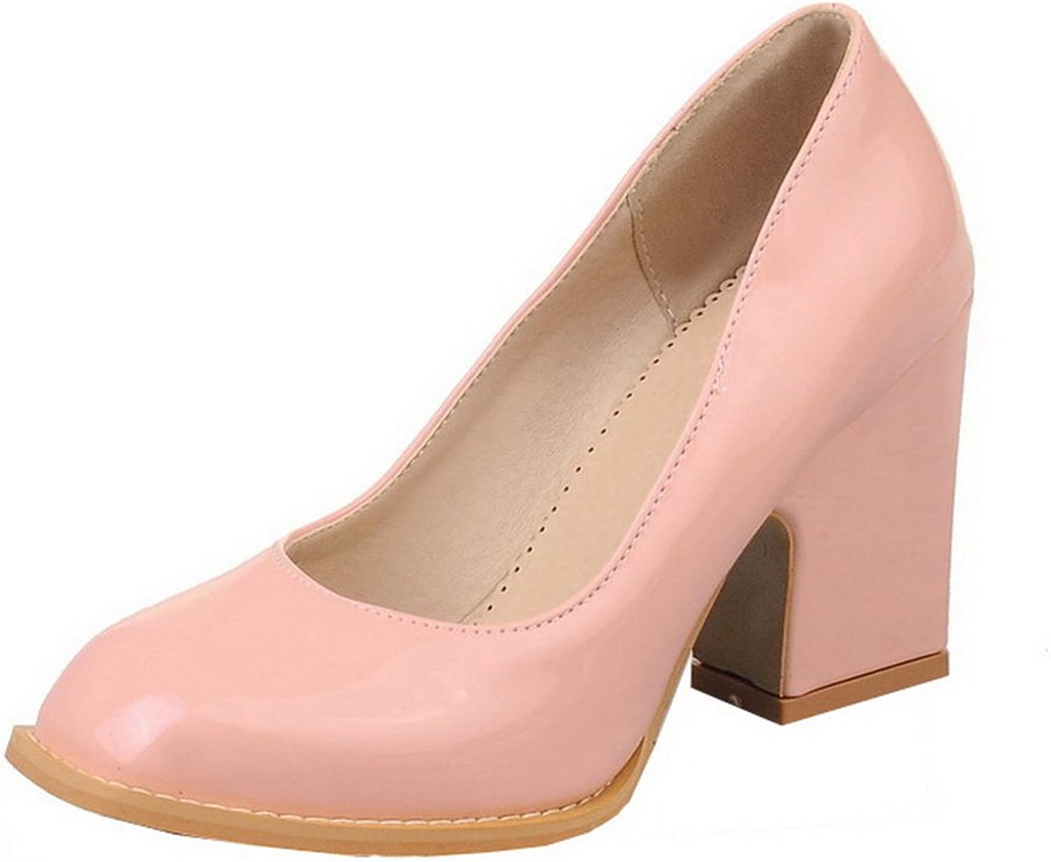 WeenFashion Women's High-Heels Patent Leather Solid Square Toe Pumps-shoes