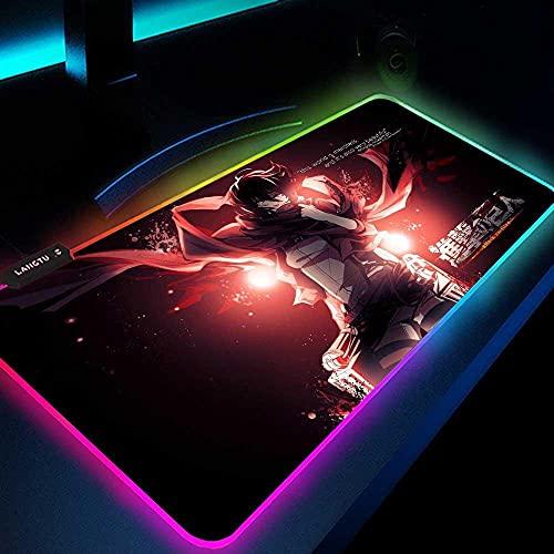 Attack On Titan Anime Gaming Alfombrillas de ratón RGB Large Gamer Computer Retroiluminación LED Teclado Tapete Escritorio 35.4X15.7 Pulgadas