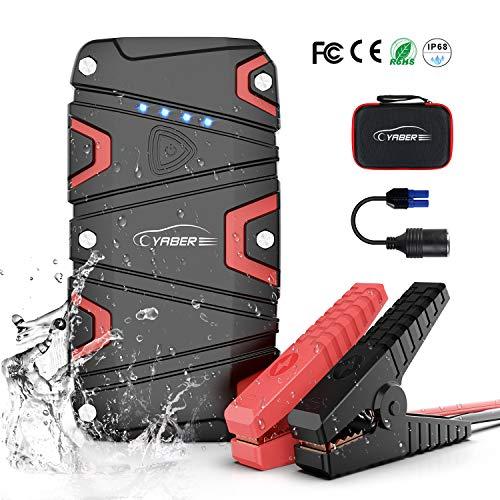 YABER Arrancador de Coches, 1200A Arrancador Batería Coche (para 7.5L de Gasolina o 6.0L de Diesel) con IP68 Impermeable, Jump Starter con Carga Rápida QC3.0