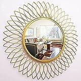 Handicrafts Decorative Iron Wall Mounted Hanging Mirror Sculpture Metal Glass Leaf Design Modern Art Gifts for Home Decor
