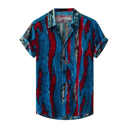 Yowablo Chemises Hommes Mode Imprimé Col Rabattu Manches Courtes Décontracté (S,8Bleu)