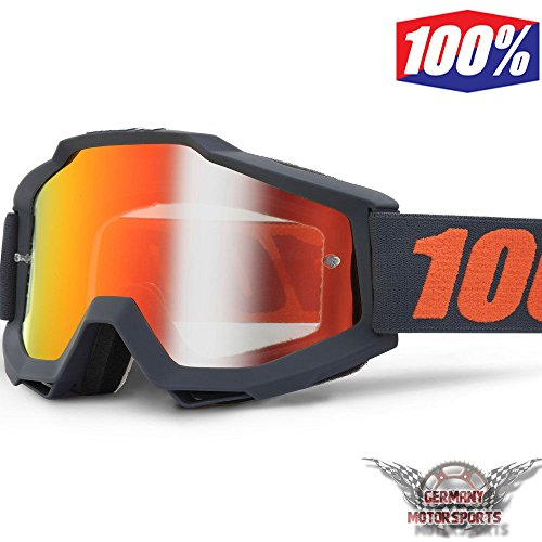 MOTOCROSS BRILLE CROSSBRILLE SCHWARZ ORANGE ROT VERSPIEGELT 100% ACCURI GUNMETAL BRILLE GOGGLE CROSS MTB QUAD ATV SUPERMOTO OFFROAD