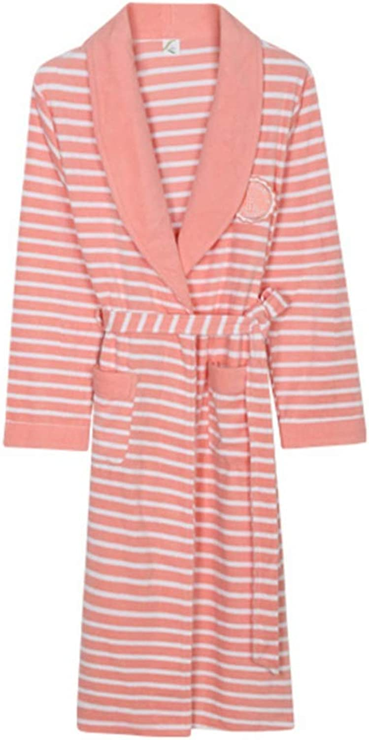 NAN Liang Couple Luxury 100% Cotton Towelling Bath Robe Dressing Gown Wrap Nightwear Soft (color   Pink, Size   M)