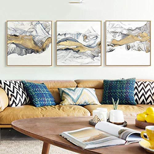 Cartel de Pintura de Lienzo de Paisaje de Bosque de montaña de Niebla de Estilo Chino e imágenes artísticas de Pared Impresas para Sala de Estar decoración del hogar sin Marco-B_30x30cmX3