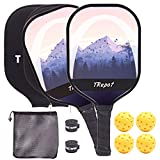 Trepot Pickleball Paddle Set,2 Lightweight Graphite Face & Honeycomb Polymer Core Rackets,Includes 4