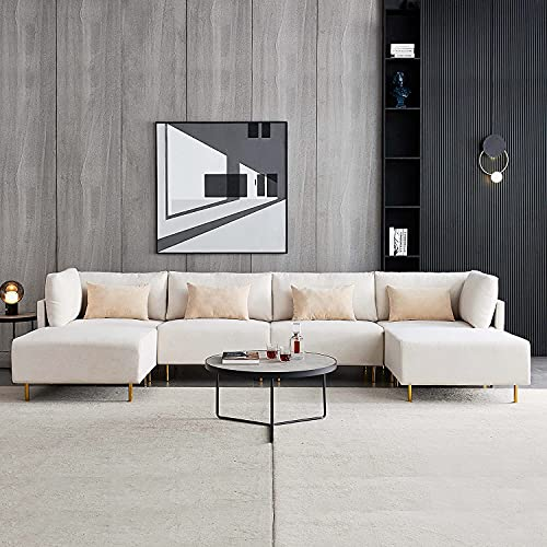 Sofá seccional con chaise & otoman, sofá convertible en forma de U de 144 pulgadas de ancho 12 pulgadas overstuffed overstuffed Double Extra Wide Chaise Lounge Sofá de mediados de siglo Diseño moderno