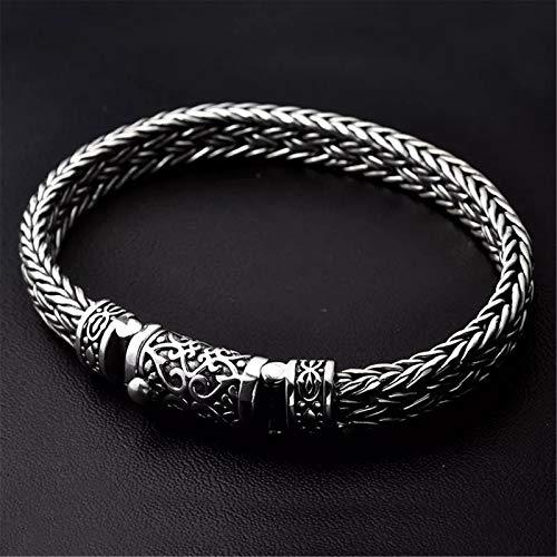 HHW Pulsera tejida a mano de plata S925, pulsera de plata tailandesa vintage de los hombres de la personalidad dominante de la plata gruesa, B, 22CM