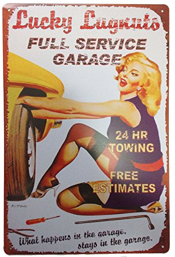 ERLOOD Lucky Luykuts Full Service Garage Tin Sign Wall Retro Metal Bar Pub Poster Metal 12
