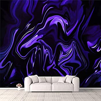 3D Wallpaper Marble Blue Ultra Violet Black Background Abstract Neon Purple Wave Self Adhesive Bedroom Living Room Dormitory Decor Wall Mural Stick and Peel Background Wall Ceiling Wardrobe Sticker