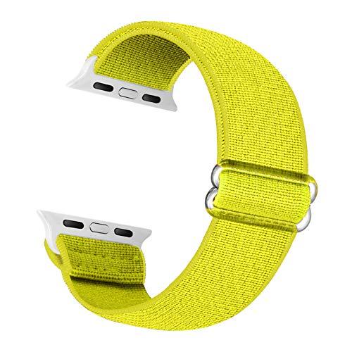 Cinturino di ricambio elastico Cuteeze compatibile con cinturino Apple Watch 38 mm 40 mm 42 mm 44 mm, cinturino in nylon morbido per iWatch serie 6, 5, 4, 3, 2, 1, SE (Giallo, 42/44mm)