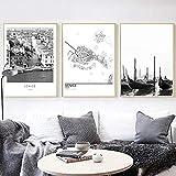 GBVC Cartel de Arte de Pared con Vista de la Ciudad de Venecia en Blanco y Negro, Cuadros de Pintura en Lienzo para decoración de Sala de estar-50x70cmx3 Piezas sin Marco