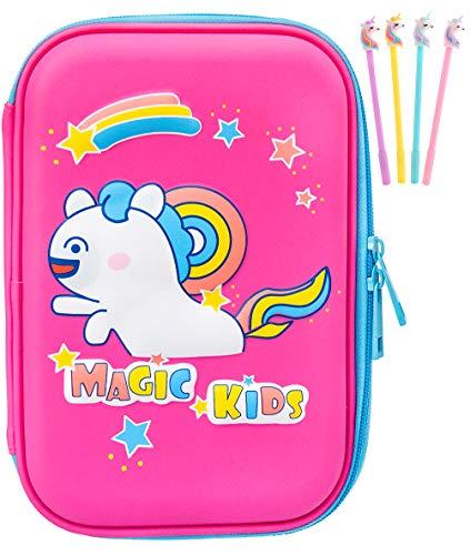 Astuccio, Unicorno EVA Pastello Scatola di Cancelleria Anti shock Grande capacità Multiscomparto per la Scuola Studenti Ragazze Adolescenti Bambini (Unicorno2rosa)