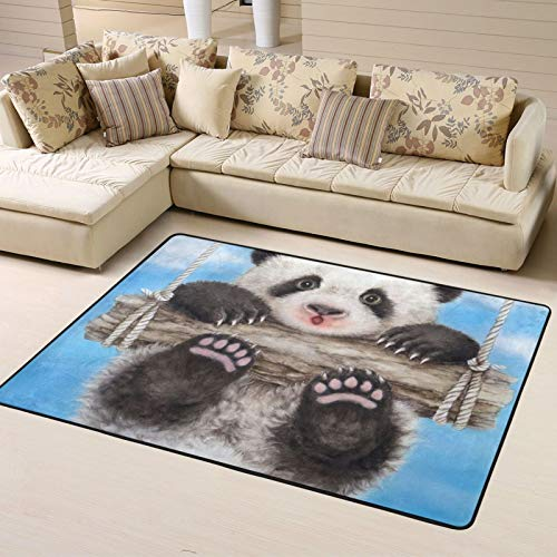 Swing Panda Designs Non-Slip Area Rugs 63 X 48 Inch, Modern Carpet for Home Dining Room Playroom Living Room Large Floor Mat